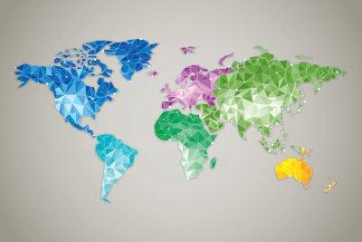 Plakat Mapa świata low poly - Nowoczesne elementy informacji grafiką Mapa rysunek nie jest proporcjonalna i szczegóły