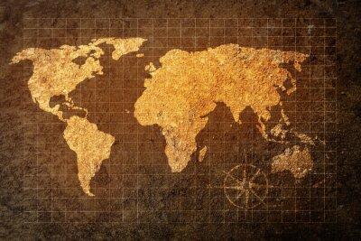 Plakat Mapa świata na tle grunge