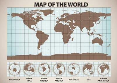 Plakat mapa świata stylu retro