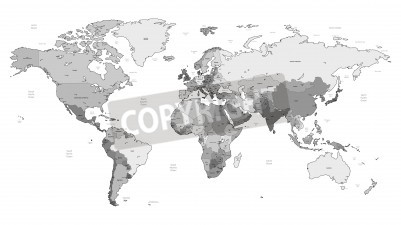Plakat Mapa świata szczegółowe wektora szare kolorów. Imiona, znaki miejskie i granice narodowe są w osobnych warstwach.