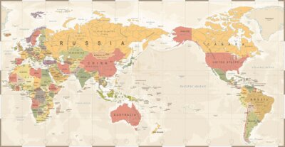 Plakat Mapa świata Vintage Old Retro - Asia in Center
