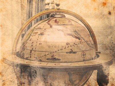 Plakat Mapa świata w stylu vintage
