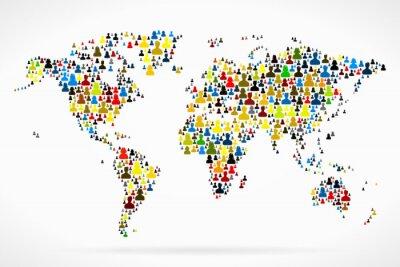 Plakat Mapa świata wykonane z dużą grupą ludzi sylwetki