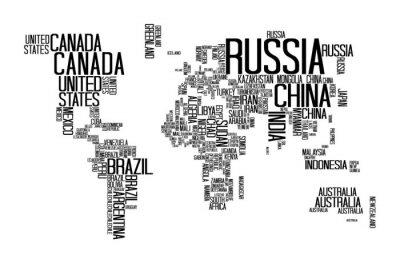 Plakat Mapa świata z nazwy Państwa tekst, World Map List, Mapa świata Typografia
