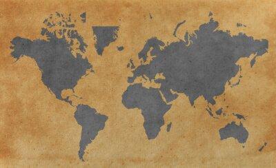 Plakat Mapa świata z starego papieru tle