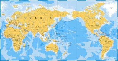 Plakat Mapa świata żółty niebieski - Azja w centrum