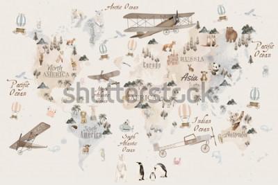 Plakat Mapa świata zwierząt do projektowania tapet dla dzieci