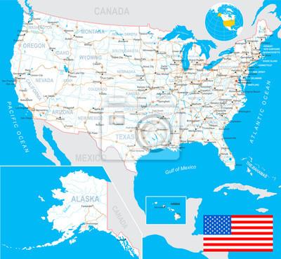 Mapa USA i flaga - bardzo szczegółowe ilustracji wektorowych z następnego layers.There są kontury ziemi, nazwy krajów i krajów, nazwy miast, nazw obiektów wodę, flaga, ikony nawigacji, drogi, linie ko