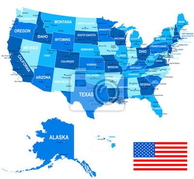 Mapa USA i flaga - bardzo szczegółowe wektor illustration.mage zawiera kolejnych warstw. Tere są kontury ziemi, kraj i nazwy gruntów, nazwy miast, nazwy obiektów wody, flaga, ikony nawigacyjne.