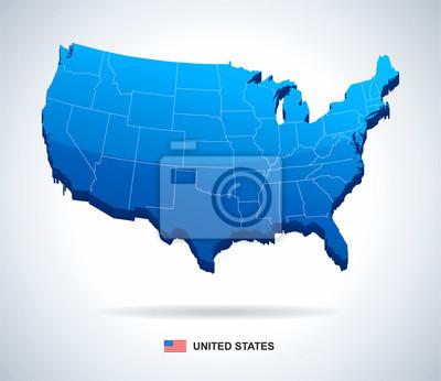 Mapa USA - trójwymiarowy wektor ilustracji.