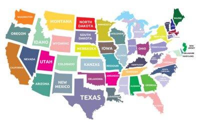 Plakat Mapa USA z państwami