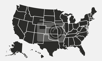 Plakat Mapa USA z państwami samodzielnie na białym tle. Mapa Stanów Zjednoczonych. Ilustracji wektorowych