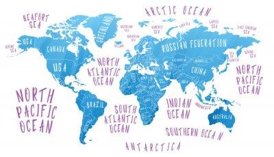 Plakat Mapa Ziemi z nazwami krajów