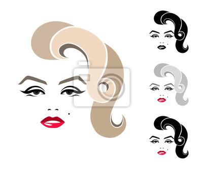 Plakat Marilyn Monroe, portret graficzny, logo, znak, ikona, godło, symbol. Pojedyncze zdjęcie