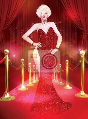 Plakat Marilyn Monroe sztuka cyfrowa wyglądają podobnie na czerwonym dywanie.