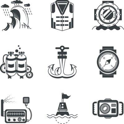 Plakat Marine czarne ikony