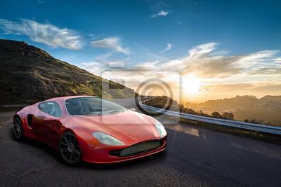 Plakat Markenfreier Konzept Sportwagen vor Sonnenuntergang in den Bergen
