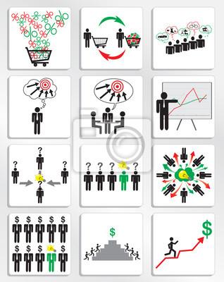 Plakat Marketing i zarządzanie ikony biznesu ustawić. Wektor
