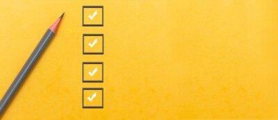 Plakat marking on checklist box. Checklist concept, copy space