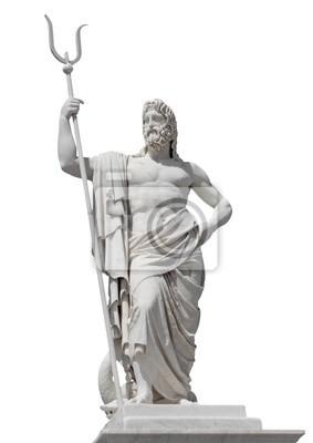 Plakat Marmurowy posąg boga morza Neptuna samodzielnie na białym tle