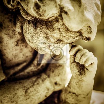 Plakat Marmurowy posąg Grunge smutny anioł