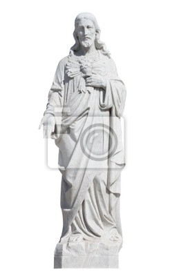 Plakat Marmurowy posąg Jezusa Chrystusa na białym z wycinek