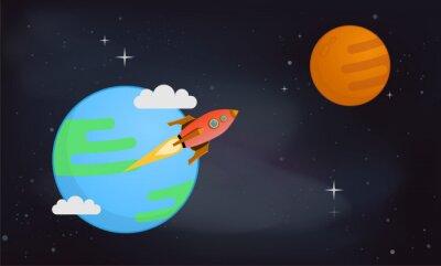 Plakat Mars i Ziemia ilustracji wektorowych