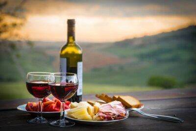 Plakat martwa natura Czerwone wino, ser i prosciutto