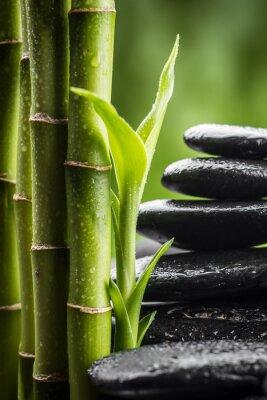 Plakat martwa natura z zen kamienie bazaltowe i bambus