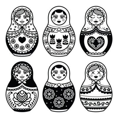 Plakat Matrioszka, ustaw ikony rosyjskie lalki