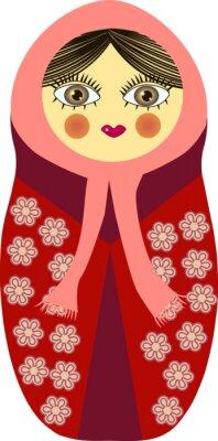 Plakat Matrioszka w czerwonej sukni