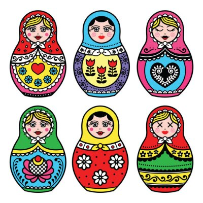 Plakat Matryoshka, Russian doll colorful icons set