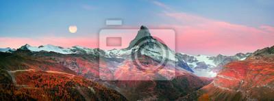 Plakat Matterhorn stoki jesienią
