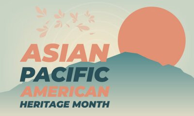 Plakat May is Asian Pacific American Heritage Month (APAHM), celebrating the achievements and contributions of Asian Americans and Pacific Islanders in the United States. Poster, banner concept.