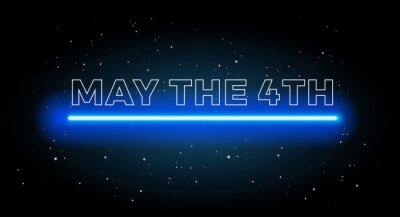 Plakat May the 4th abstract space background with shining blue light and black starry sky - vector