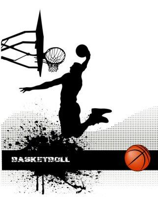 Plakat Mecz koszykówki na tle grunge