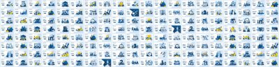 Plakat Mega Collection of business concept flat vector illustration. Set of landing page design templates, can use for web banner, infographics, landing page, web template