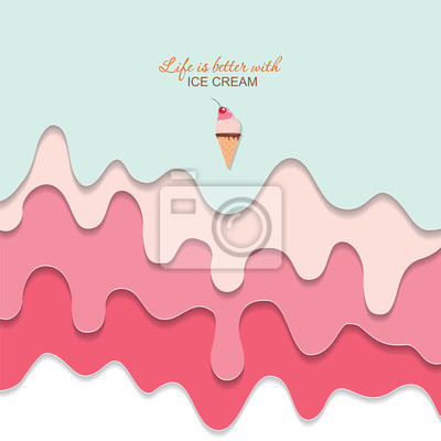 Plakat Melted flowing ice cream background. 3d paper cut out layers. Pastel pink and blue. Girly. For notebook cover, greeting card cute design. Vector