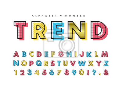 Plakat Memphis alphabet & number set. Vector decorative pattern typography. Font collection for headline or title design of poster, brochure, scrapbook or print.