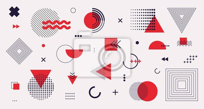 Plakat Memphis design elements mega set. Vector abstract geometric line graphic shapes, modern hipster circle triangle template colorful illustration