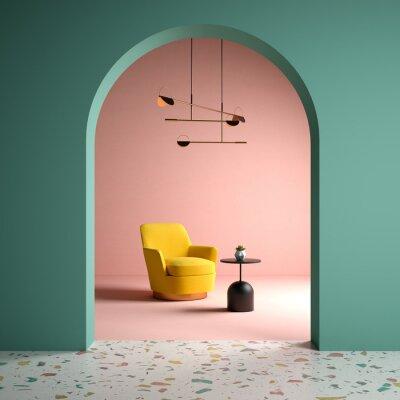Plakat Memphis style conceptual interior room 3d illustration