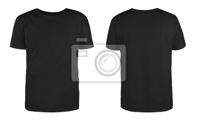 Plakat Men's black blank T-shirt template,from two sides, natural shape on invisible mannequin, for your design mockup for print, isolated on white background..