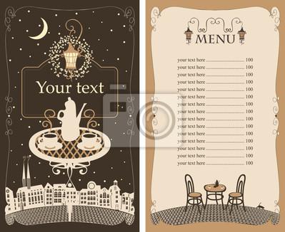 Plakat Menu dla kawiarni nocy z tabeli pod lampą