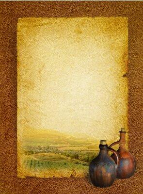 Plakat Menu Karta win z winnicy i stary dzban wina