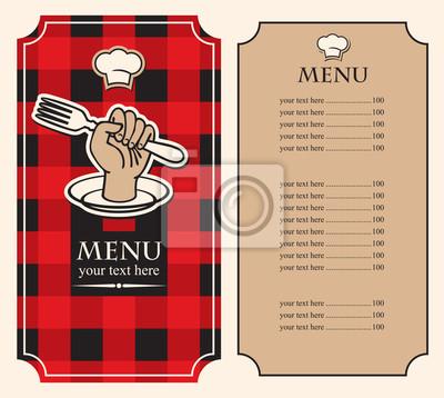 Plakat Menu na czarnym tle czerwony z widelcem w ręku