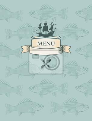 Plakat menu ryby z łodzi w tle ryb