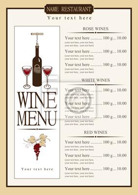 Plakat menu wino z cennikiem różnych win