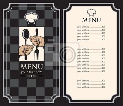 Plakat Menu z rąk i naczynia na tle szachy