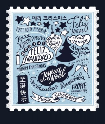 Plakat Merry Christmas in different languages. Vintage stamp card design with hand lettering text, international winter holidays greetings. Blue retro illustration with Cristmas tree. Feliz Navidad, Joyeux