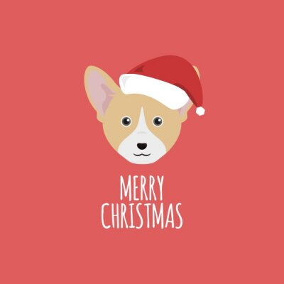 Plakat Merry Christmas karty, Welsh Corgi
